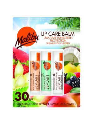 Бальзам для губ Malibu Манго/Мята/Тропические фрукты SPF 30. Цвет: коричневый, белый, зеленый