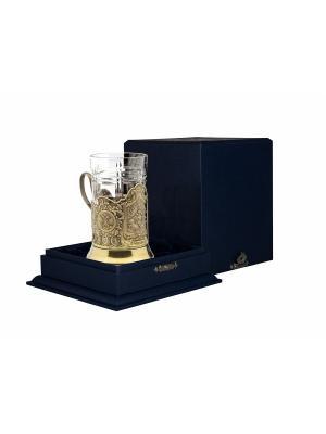 Набор для чая латунный с чернением Отечество, долг, честь (подстаканник + стакан футляр) Кольчугинъ. Цвет: золотистый