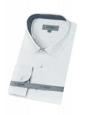 Сорочка STENSER. Цвет: белый, серый