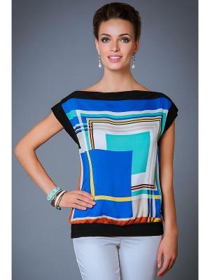 Блузка Арт-Деко. Цвет: черный, синий