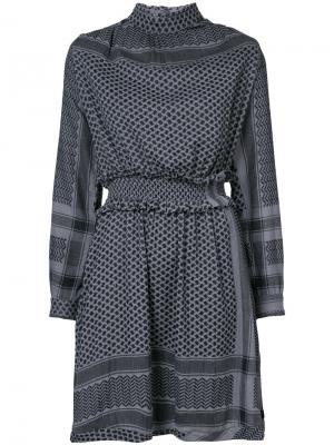 Платье с мелким узором Cecilie Copenhagen. Цвет: серый