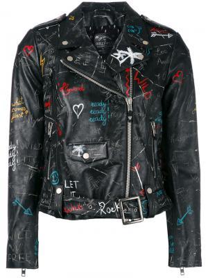 Байкерская куртка с узором в стиле граффити Htc Hollywood Trading Company. Цвет: чёрный