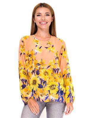 Блузка Adelin Fostayn. Цвет: оранжевый, желтый, персиковый
