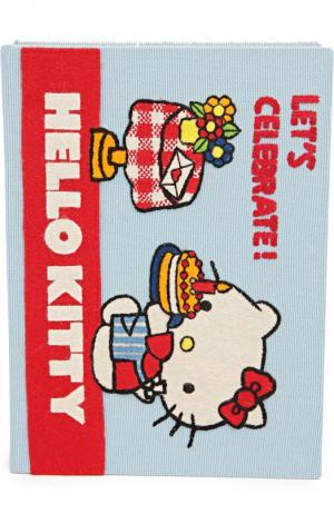 Клатч в виде книги с аппликацией Hello Kitty Olympia Le-Tan. Цвет: голубой