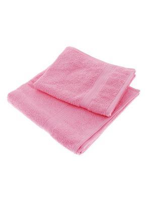 Махровое полотенце розовое в коробке Aisha. Цвет: розовый