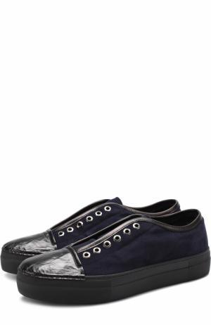 Замшевые кеды без шнуровки с внутренней меховой отделкой Rocco P.. Цвет: темно-синий