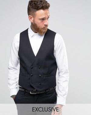 Farah Slim Fit Arnos Tux Waistcoat. Цвет: черный