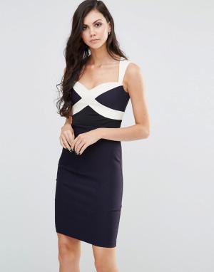Vesper Платье колор блок. Цвет: темно-синий