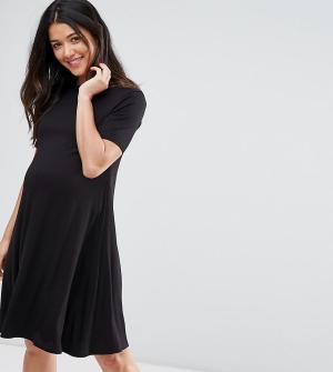 ASOS Maternity Свободное платье для беременных с короткими рукавами. Цвет: черный