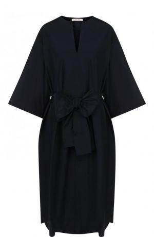 Однотонное платье с поясом и V-образным вырезом The Row. Цвет: темно-синий