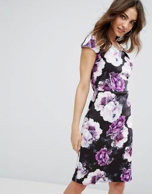 Wal G Платье-футляр с цветочным принтом и открытыми плечами. Цвет: черный