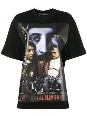 Свободная футболка  Real Slim Shady Y / Project. Цвет: чёрный