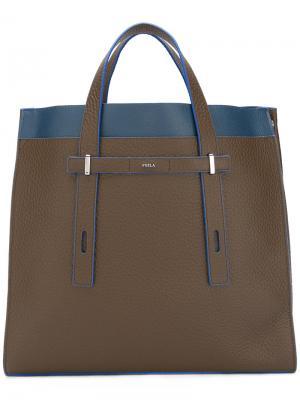 Структурированная сумка-тоут с контрастной отделкой Furla. Цвет: коричневый