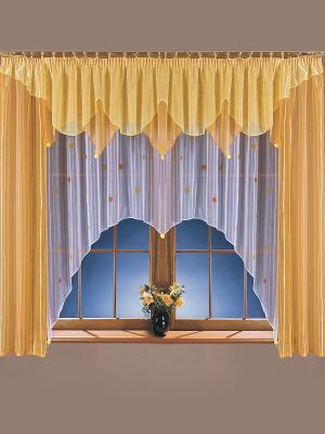 Комплект штор Помпоники Wisan. Цвет: оранжевый