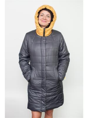 Пальто KiS.. Цвет: темно-серый, желтый