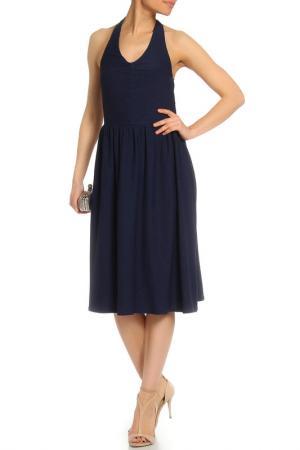 Платье на завязках с открытой спиной La Reine Blanche. Цвет: темно-синий