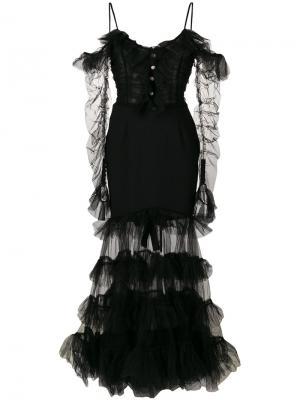 Расклешенное сетчатое платье с оборками Alessandra Rich. Цвет: чёрный