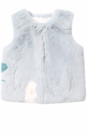 Жилет из меха кролика Yves Salomon Enfant. Цвет: голубой