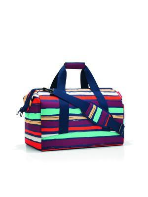 Сумка Allrounder L artist stripes Reisenthel. Цвет: синий, бордовый, оранжевый