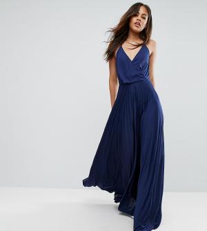 ASOS Tall Платье макси с запахом и плиссированной юбкой. Цвет: темно-синий