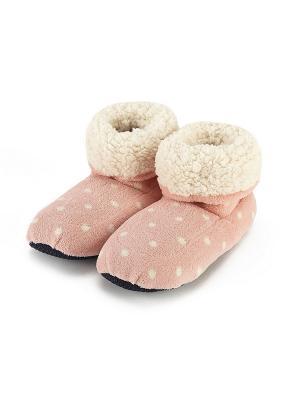 Сапожки-грелки розовые в горох Warmies. Цвет: розовый
