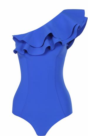 Слитный купальник асимметричного кроя с оборками Lisa Marie Fernandez. Цвет: синий