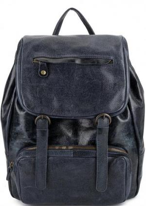 Синий кожаный рюкзак с одним отделом Bruno Rossi. Цвет: синий