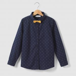 Рубашка в горошек 3-12 лет R édition. Цвет: рисунок темно-синий