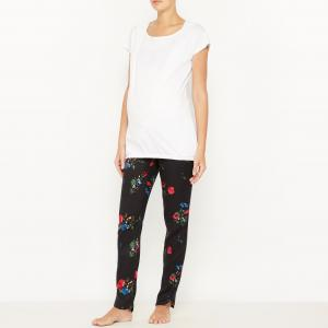 Пижама для периода беременности и грудного вскармливания COCOON. Цвет: белый наб.рисунок