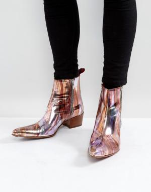 Jeffery West Розовые ботинки с молниями и эффектом металлик Sylvian. Цвет: розовый
