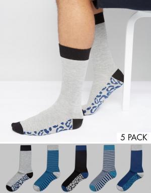 Urban Eccentric Набор из 5 пар носков в полоску и с животным принтом. Цвет: мульти