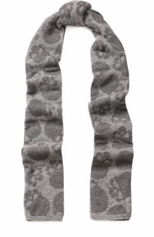 Шерстяной шарф с принтом Gemma. H. Цвет: серый