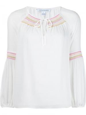 Блузка с вышивкой на горловине Diane Von Furstenberg. Цвет: белый