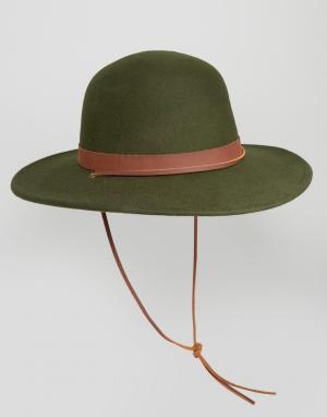 Brixton Шляпа с широкими полями Deadwood. Цвет: зеленый