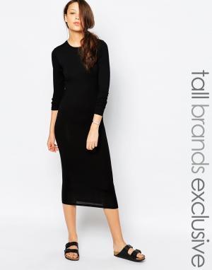 Taller Than Your Average Облегающее платье миди с длинными рукавами TTYA. Цвет: черный