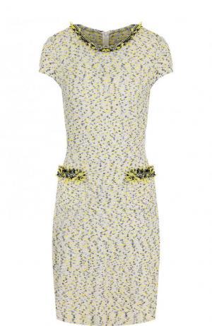 Буклированное мини-платье с бахромой St. John. Цвет: желтый