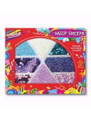 Набор бисера Лавандовое поле КРЕАТТО. Цвет: красный, белый, голубой, фиолетовый