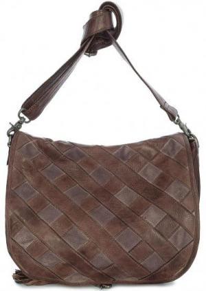 Кожаная сумка через плечо с вставками из замши Taschendieb. Цвет: коричневый