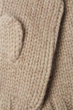 Кашемировые варежки Tegin. Цвет: бежевый