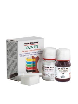 Краситель+очиститель  для гладкой кожи TDC05 COLOR DYE, стекло, 2 х 25мл. (059 изюм) Tarrago. Цвет: темно-бордовый