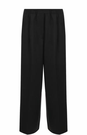 Шерстяные широкие брюки с эластичным поясом и карманами Forte_forte. Цвет: черный