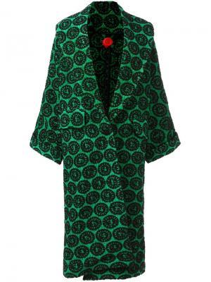 Жаккардовое пальто Ultràchic. Цвет: зелёный