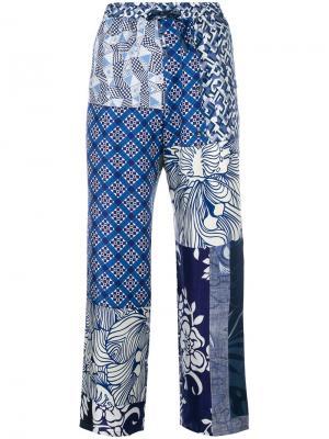 Patchwork cropped trousers Pierre-Louis Mascia. Цвет: синий