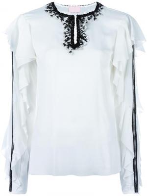 Блузка с рюшами Giamba. Цвет: белый