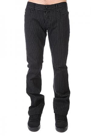 Штаны прямые  Thomas Signature B/W Pinstripe Fallen. Цвет: черный