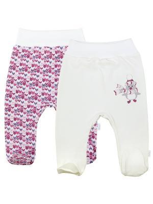 Ползунки, 2 шт. Веселый малыш. Цвет: молочный, коралловый, розовый