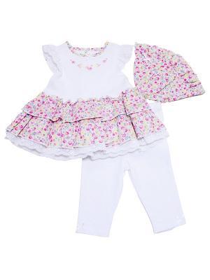 Комплект из 3-х предметов Рюшки Little Me. Цвет: белый, розовый