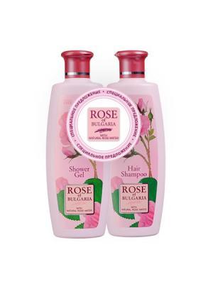 Набор: Шампунь для волос + Гель душа Rose of Bulgaria (330 мл x 2шт) Biofresh. Цвет: бледно-розовый, белый, розовый