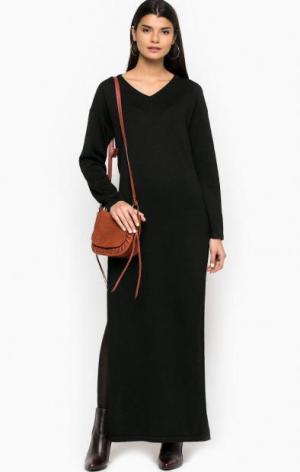 Длинное платье с разрезами Glamorous. Цвет: черный