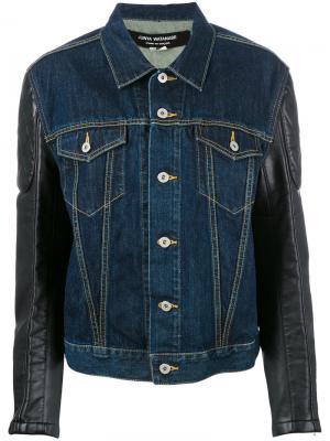 Джинсовая куртка с принтом Junya Watanabe Comme Des Garçons. Цвет: синий